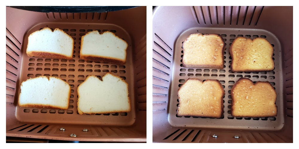 4 pieces of angel food cake toasting in a copper-colored air fryer basket