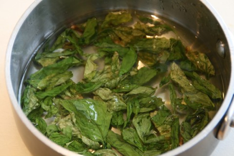 Basil leaves in sugar syrup