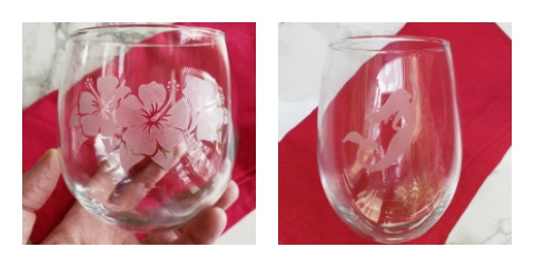 Susquehanna Glass Co flower and mermaid glasses