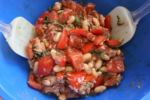 Tuna, Tomato, Bean and Basil Salad