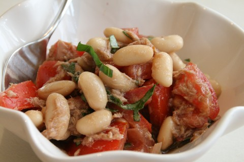 Tuna, Tomato, Bean and Basil Salad on Shockingly Delicious