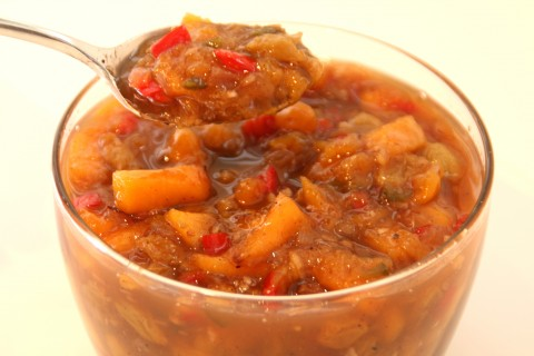 Spiced Fresh Peach Chutney on Shockingly Delicious