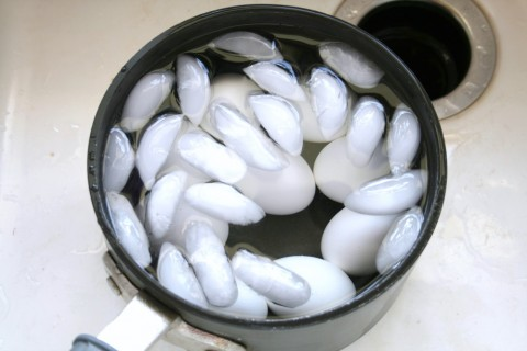Ice cools down the eggs quickly after cooking