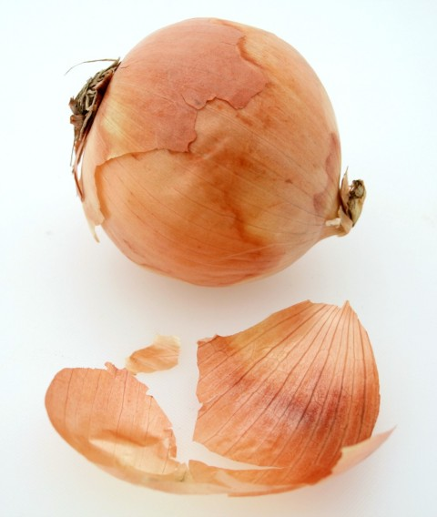 Papery skin from onions will color egg shells