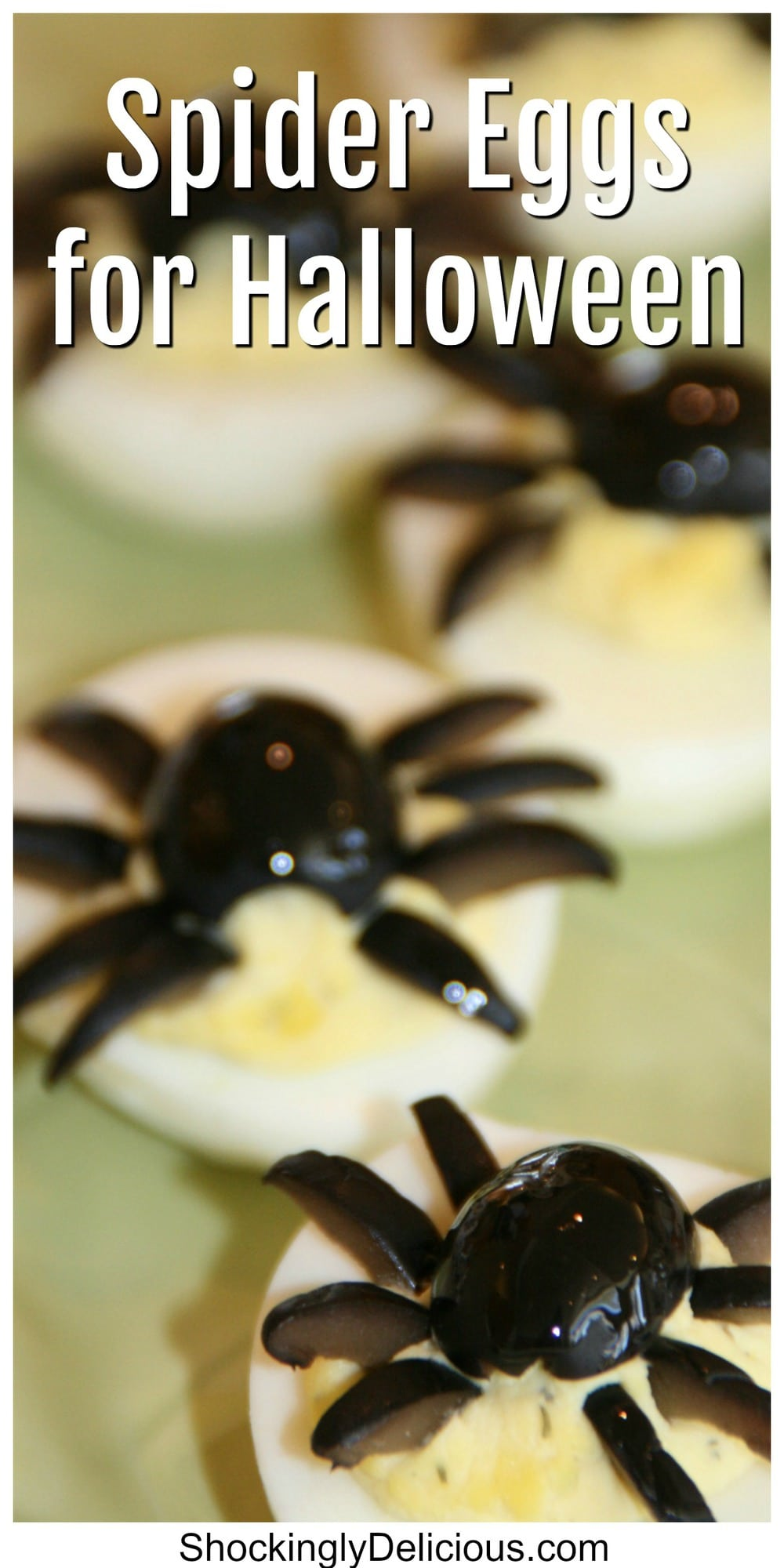 Deviled Spider Eggs on a green plate