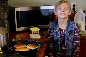 Adele Carcano making pancakes