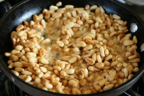 Saute pine nuts on Shockinglydelicious.com
