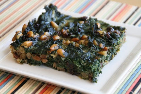 Spinach Pie with Pine Nuts and Currants on Shockinglydelicious.com