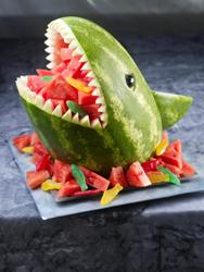Shark carved watermelon