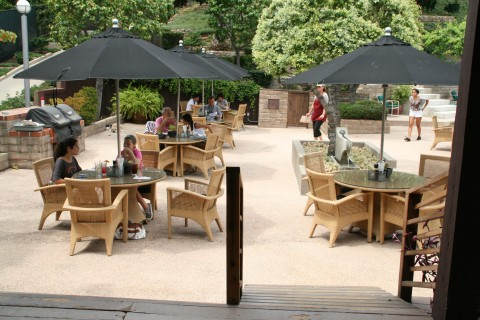 Diners on the patio at Godmother Cafe in Malibu