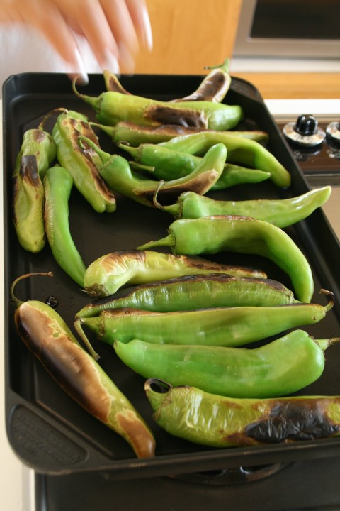 Hatch chiles roasting on a griddle pan