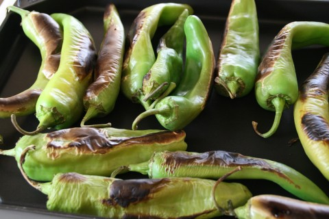 Hatch chiles on a griddle