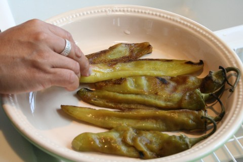 Hatch chiles on a plate
