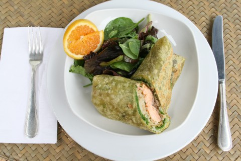 Salmon Wrap plate at The Godmother Cafe in Malibu