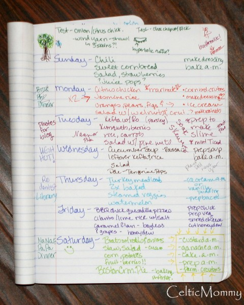 Heather Schott's weekly meal planning