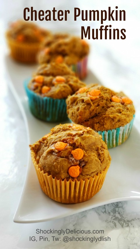 3-Ingredient Cheater Pumpkin Muffin recipe on ShockinglyDelicious.com