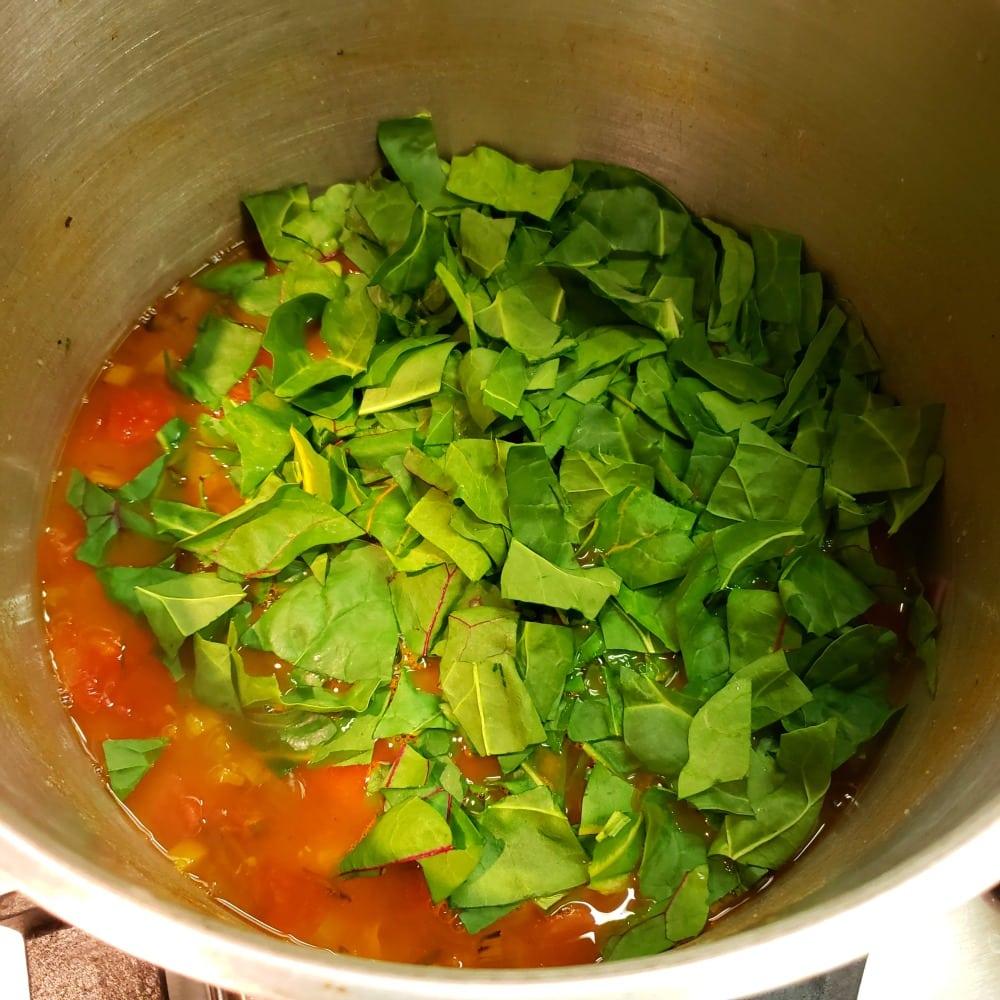 Add Swiss Chard to the soup pot