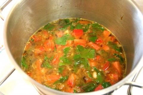 Vegetarian Chard Soup in the pot.