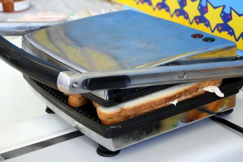 Turkey Pesto Panini sandwich in the press