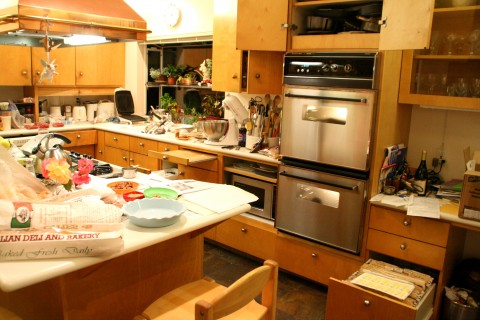 Messy kitchen with overview