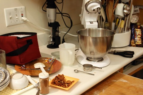 Messy kitchen with mixer