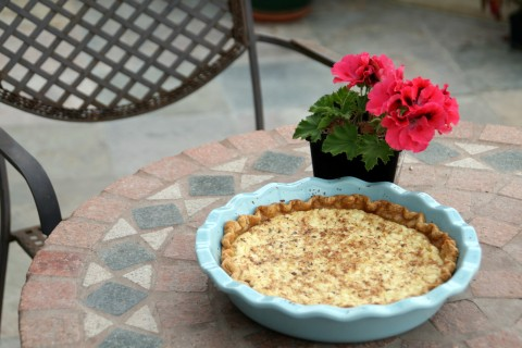 Cottage Cheese Pie on the patio
