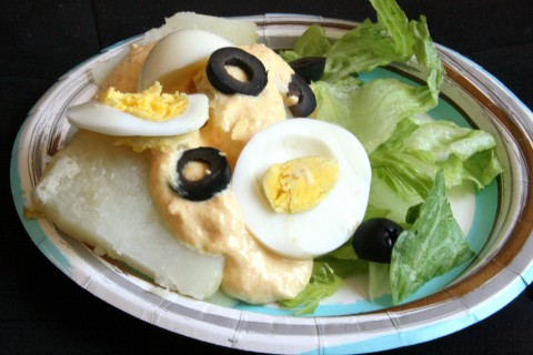 Papa a la Huancaina   Authentic Peruvian Potato Salad recipe with a cheesy sauce   ShockinglyDelicious.com