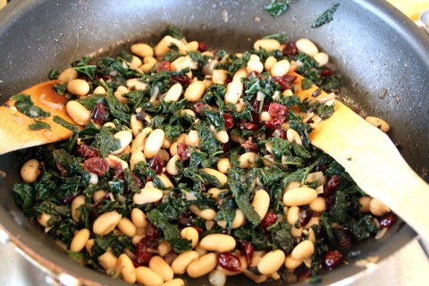 Greens and Beans in the skillet