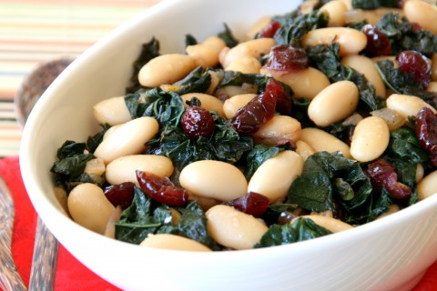 Beans and Greens with Shallots, Black Garlic and Cranberries