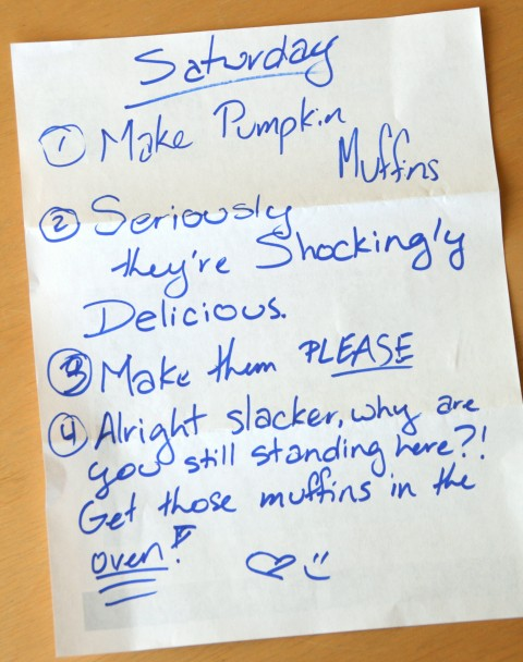 Note left on the counter about cheater pumpkin muffins