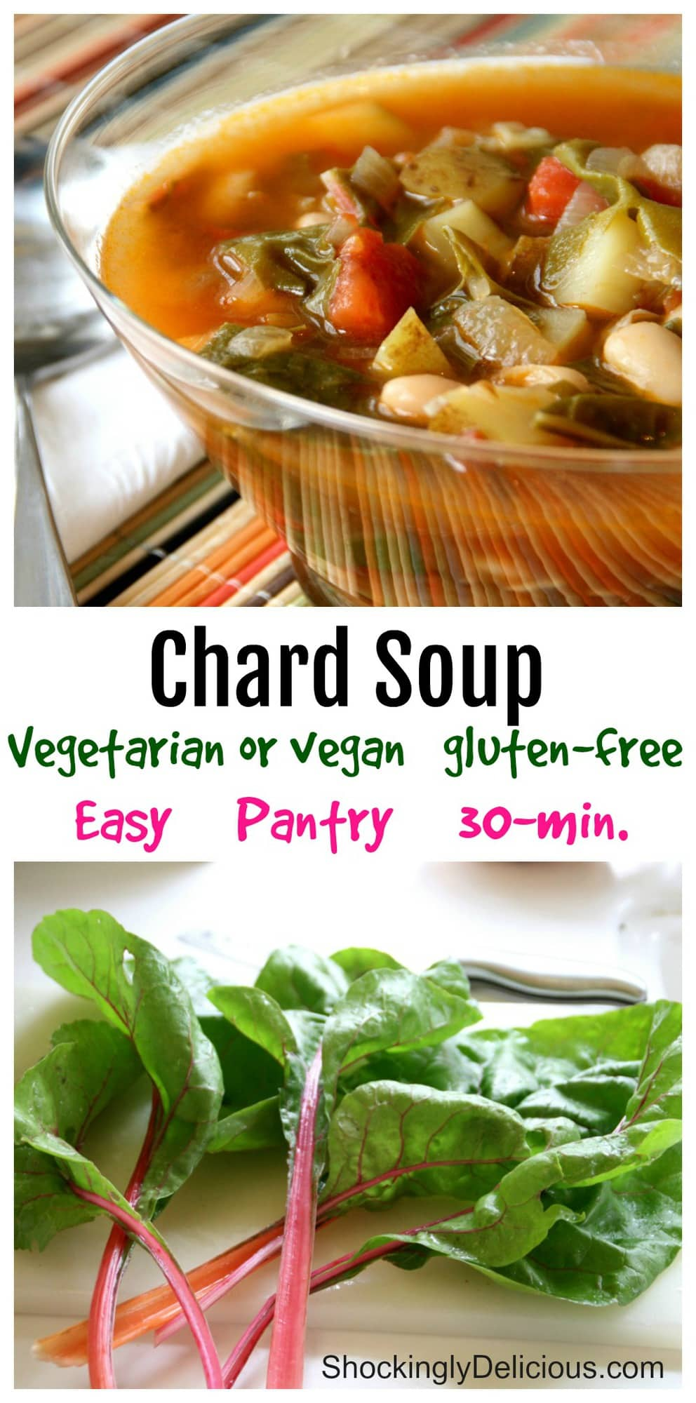 Vegetarian Chard Soup collage on ShockinglyDelicious.com