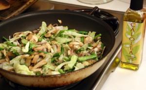 Calolea Garlic Olive Oil in a stir-fry
