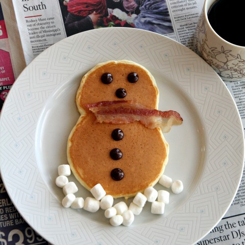 Snowman Eggnog Pancakes on www.ShockinglyDelicious.com