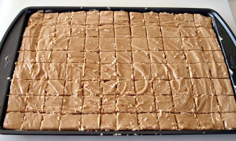 Peanut Butter Fudge cut in pan