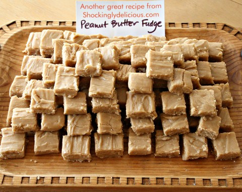 Peanut Butter Fudge on wooden tray