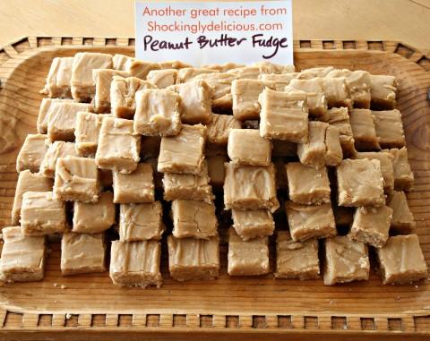 Peanut Butter Fudge on wooden tray