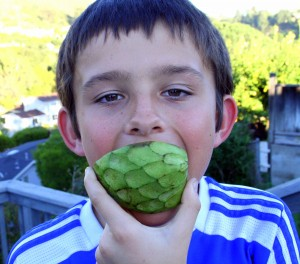 Nick eating a cherimoya
