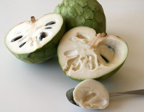 Cherimoya Fruit cut, with spoon