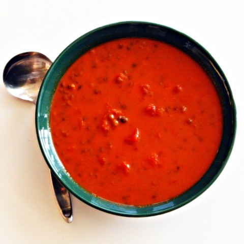 Shortcut Tomato, Roasted Red Pepper and Lentil Soup