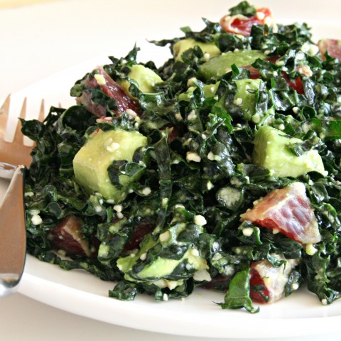 Raw Kale, Avocado and Blood Orange Salad