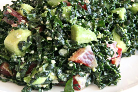 Raw Kale Salad with Avocado and Blood Orange on Shockingly Delicious