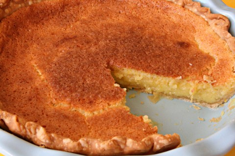 Meyer Lemon Chess Pie with a piece gone