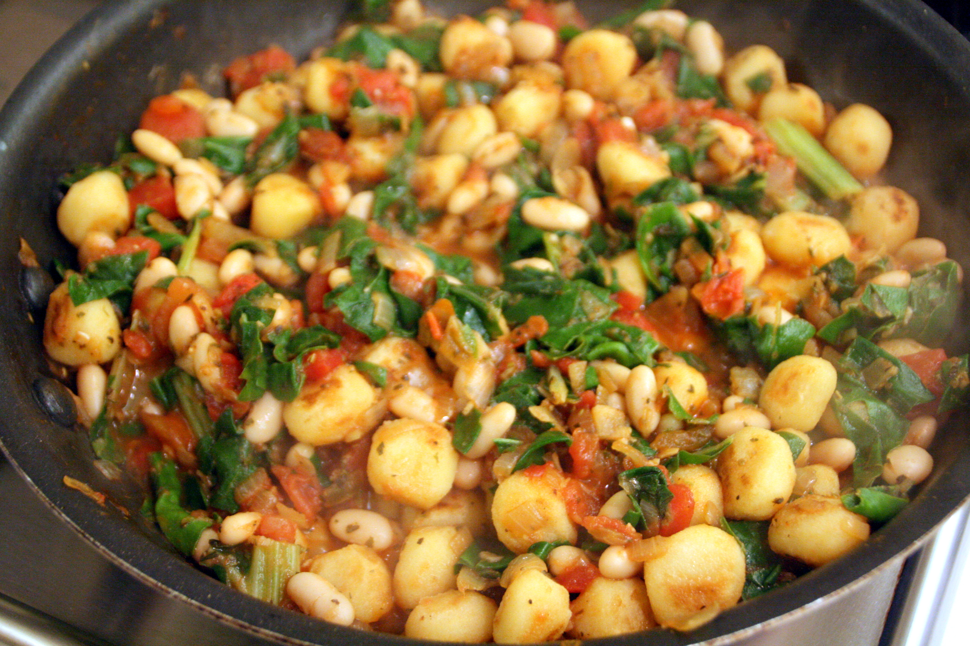 Vegetarian Skillet Gnocchi with Chard and White Beans