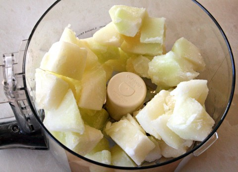 Gold Canary Melons in food processor