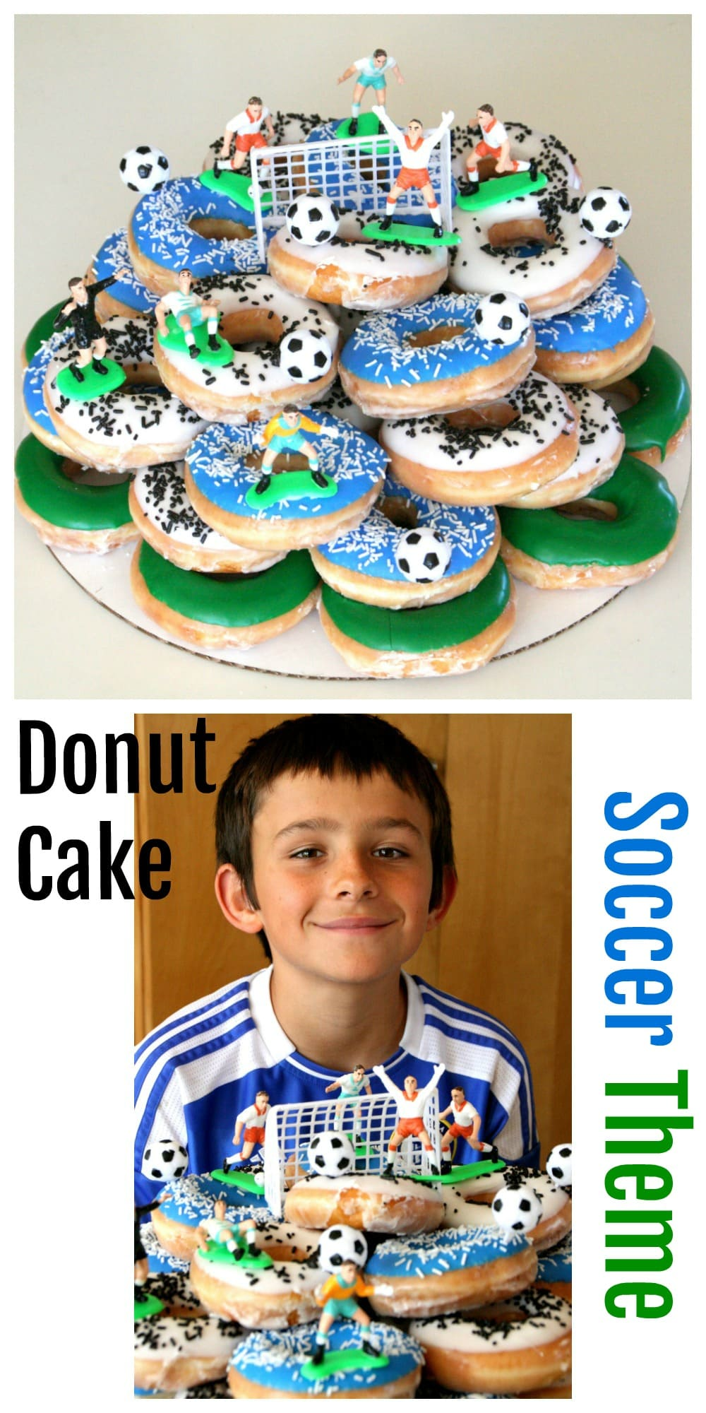 Donut Cake in top photo, soccer player with cake in bottom photo on ShockinglyDelicious.com
