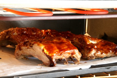 Smoky Baby Back Ribs in the broiler