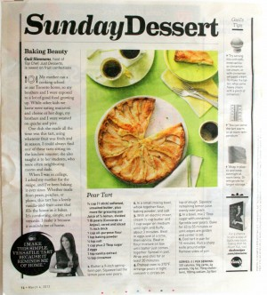 Pear tart story from Parade magazine