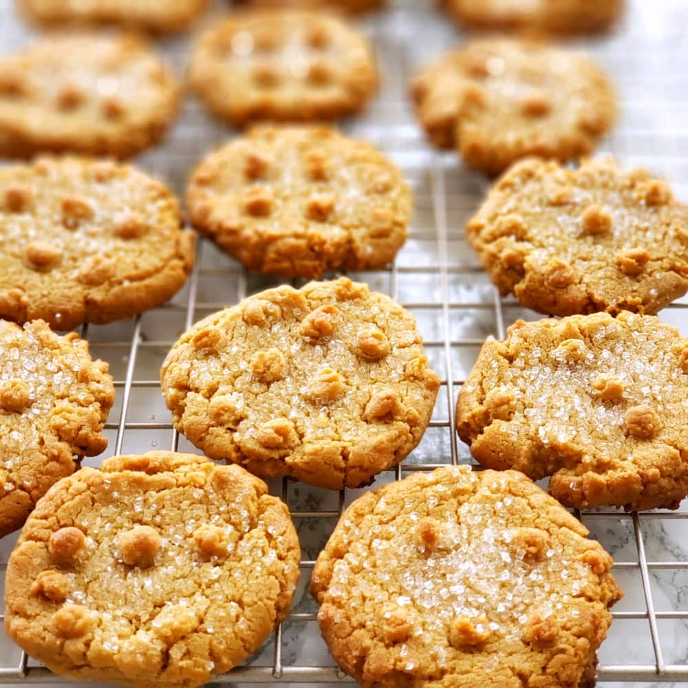 Flourless Peanut Butter Cookies with dots of dough on top, and sugar