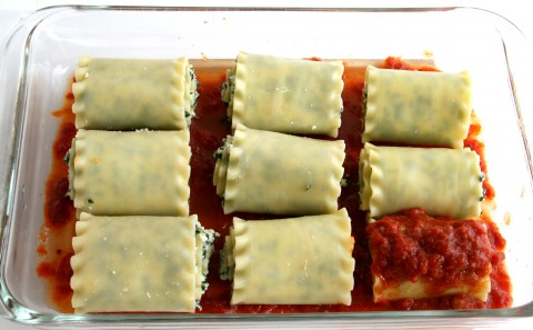 lasagna rolls in baking dish
