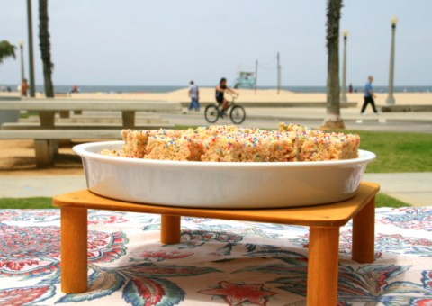 Funfetti Rice Krispies Treats at the beach